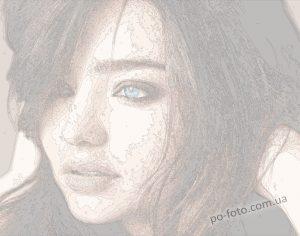 пример схемы цветного холста портрета со своим фото