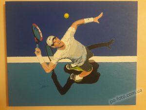 раскрашенная картина с теннисистом